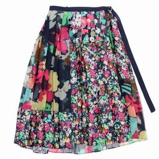 sacai - sacai フローラル プリーツ 巻き スカート 2