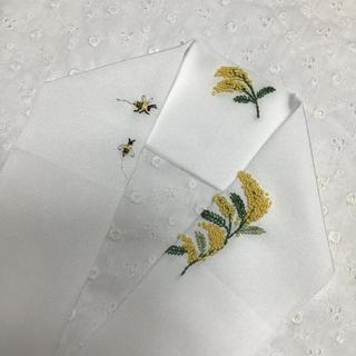 手刺繍半衿 ミモザと蜜蜂  正絹100%  千種織  丹後織ちりめん