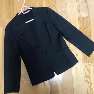 ベルメゾン - ベルメゾン ラシサ スーツジャケットノーカラージャケット黒