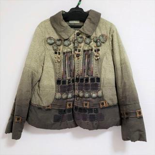センソユニコ(Sensounico)のUSEDセンソユニコi+muだまし絵プリントとボタン装飾がかわいい中綿ジャケット(ブルゾン)