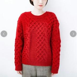 ハコ(haco!)の古着っぽい雰囲気がこなれたパネル編みケーブルニット(ニット/セーター)