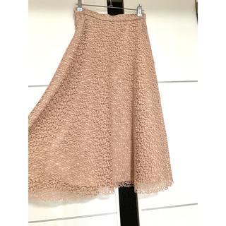 ザラ(ZARA)のZARA 刺繍 フレアスカート ピンクベージュ 膝丈スカート (ひざ丈スカート)