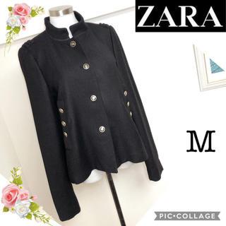 ZARA - ZARAザラ(Mサイズ)飾りボタンの黒ナポレオンジャケットコート