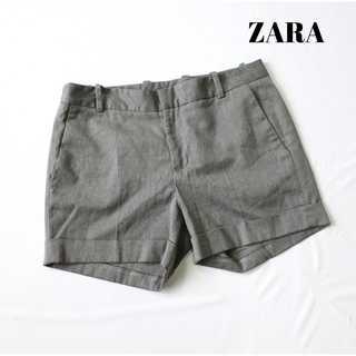 ザラ(ZARA)のザラ★ロールアップ ショートパンツ S グレー ストレッチ素材(ショートパンツ)