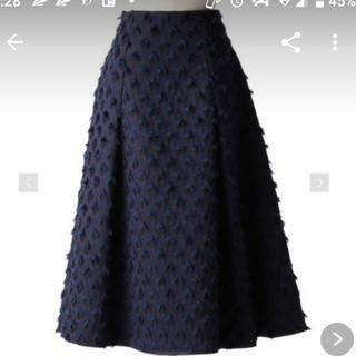 Drawer - お値下げ ドゥロワー19AW ネイビーフリンジジャガードスカート 新品、未使用