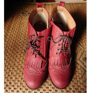 赤 ショートブーツ(ブーツ)