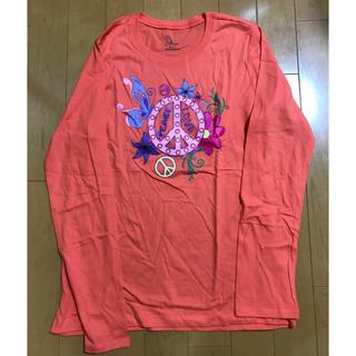 海外輸入品 レディース長袖Tシャツ XL オレンジ 花柄蝶々柄 婦人長袖Tシャツ(Tシャツ(長袖/七分))