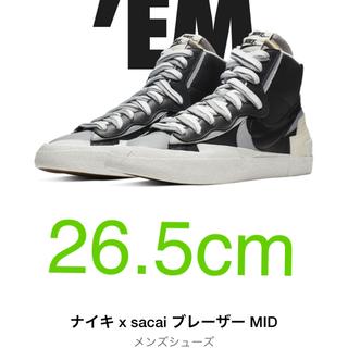 ナイキ(NIKE)の26.5cm Nike Blazer Mid sacai Black Grey(スニーカー)