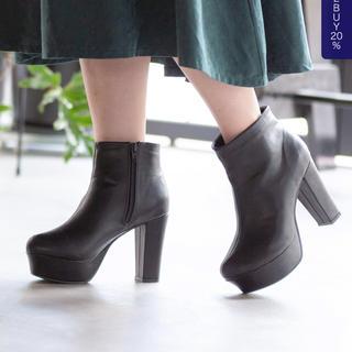 ユメテンボウ(夢展望)の夢展望 太ヒールシンプルショートブーツ 26cm(ブーツ)