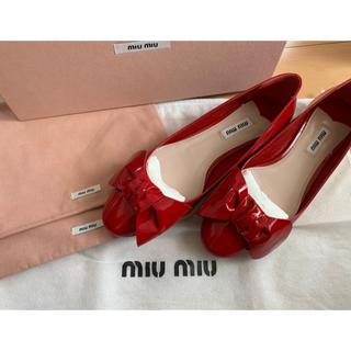 miumiu - miumiu 靴 パンプス 赤 リボン