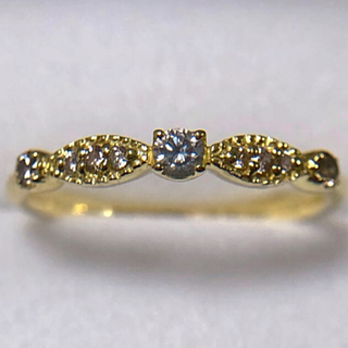 K18 YG 0.14ct ダイヤモンド リング 約10号(リング(指輪))