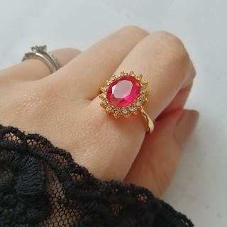新品 アンティーク調 赤紫石キラキラリング(リング(指輪))