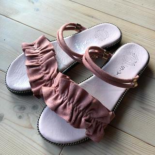 【フラットサンダル 】フリル付き 2way使用 ピンク色(サンダル)