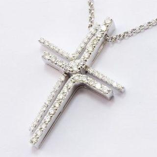 PonteVecchio - ポンテヴェキオ ネックレス  ダブル クロス ダイヤモンド 0.54ct K18