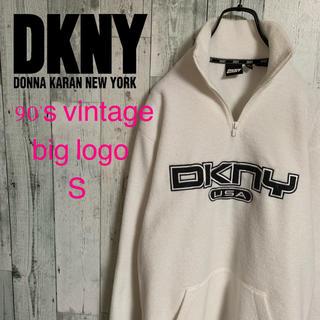 ダナキャランニューヨーク(DKNY)の入手困難 90's DKNY ダナキャラン ロゴ刺繍 プルオーバーフリース 美品(スウェット)