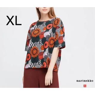 マリメッコ(marimekko)の日本未発売★marimekko uniqlo Tシャツ XL オレンジ グリーン(Tシャツ(半袖/袖なし))