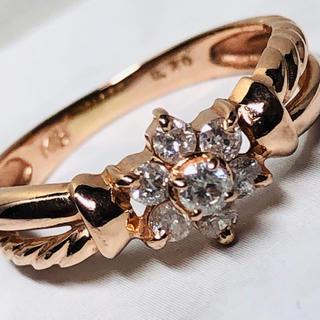 K18PG ダイヤモンドフラワーデザインの指輪(リング(指輪))