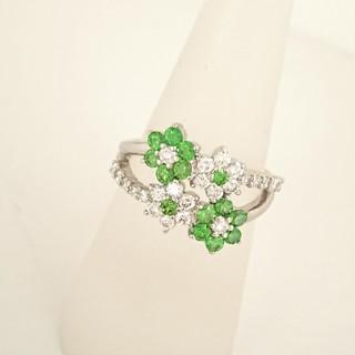 PT900 デマントイドガーネット ダイヤモンド リング(リング(指輪))