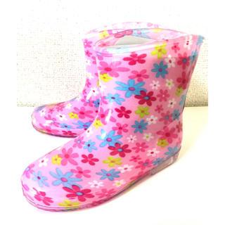 【新品】レインブーツ 《ピンク・花柄》 キッズ 長靴 子供用長靴