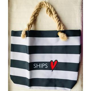 SHIPS - 新品未使用 SHIPS マリントートバッグ 肩紐が柔らかい細い縄 マリンボーダー