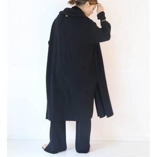 DEUXIEME CLASSE - ドゥーズィエムクラススムースニットガウンコート☆今季完売ブラック☆黒ウールコート