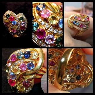 サファイア ダイヤモンド リング 15号 マルチカラー アミュレット k18 (リング(指輪))