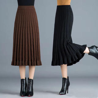 LAKA023秋冬レディース ニット 厚手 ロングスカート(3色フリー)(ロングスカート)