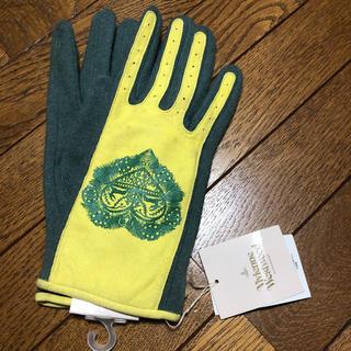 ヴィヴィアンウエストウッド(Vivienne Westwood)の《新品》ヴィヴィアンウエストウッド、革、ウール手袋、羊革、黄/モスグリーン(手袋)