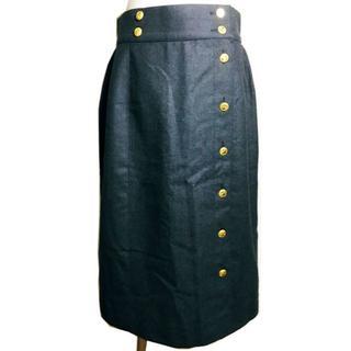 シャネル(CHANEL)のヴィンテージ CHANEL グレイウールスカート XL(ひざ丈スカート)