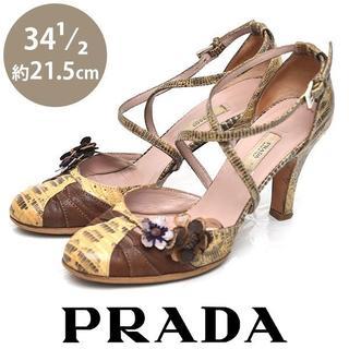 プラダ(PRADA)のプラダ パイソン フラワー サンダル 34 1/2(約21.5cm)(サンダル)