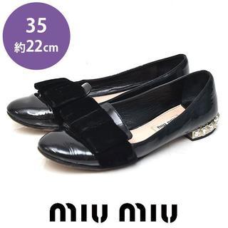 ミュウミュウ(miumiu)のミュウミュウ リボン ヒールビジュー エナメル オペラシューズ 35(約22cm(ローファー/革靴)