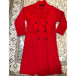 ザラ(ZARA)の美品❤︎ZARA コート 赤 レッド(ロングコート)