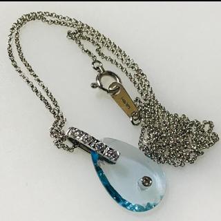 STAR JEWELRY - 18k アクアマリン×ダイヤモンドネックレス WG