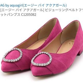 エージーバイアクアガール(AG by aquagirl)の❤【新品】エージーバイアクアガール・ビジュー リング ベルト フラット パンプス(ハイヒール/パンプス)