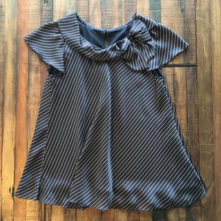 ストロベリーフィールズ(STRAWBERRY-FIELDS)の⭐︎ツヤ紺 ブラウス 美品(シャツ/ブラウス(半袖/袖なし))