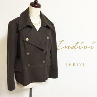インディヴィ(INDIVI)のINDIVI☆アンゴラウールピーコート(ピーコート)