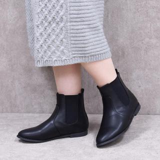 NOFALL サイドゴアショートブーツ ブラック 25cmくらい(ブーツ)
