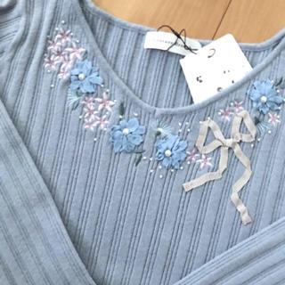 クチュールブローチ(Couture Brooch)のリボン花モチーフニット ライトブルー(ニット/セーター)