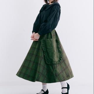 merlot - メルロー ウール混フリルポケットチェック柄スカート