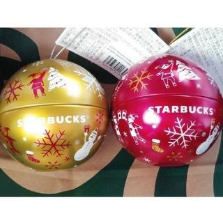 スターバックスコーヒー(Starbucks Coffee)の《中身なし!》 スタバ  ★赤・金 2個セット★ オーナメント缶 スターバックス(その他)