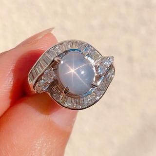 【非加熱 未使用】スターサファイア ダイヤモンド プラチナ 指輪 9月誕生石(リング(指輪))