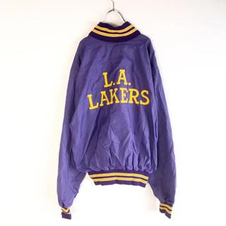 【80s】USA製 NBA Lakers ナイロンコーチジャケット  パープル(ナイロンジャケット)