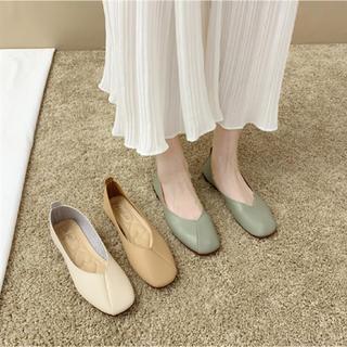 靴 パンプス フラット 韓国 pu 柔らかい (23.5cm)オフホワイト(ハイヒール/パンプス)