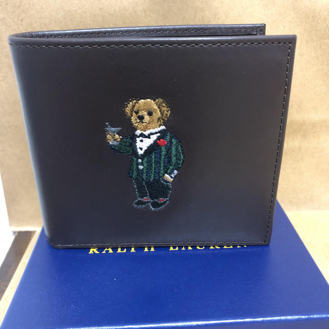 POLO RALPH LAUREN(ポロラルフローレン)のポロ ラルフローレン ポロベアー レザー 二つ折り財布 濃茶 メンズのファッション小物(折り財布)の商品写真