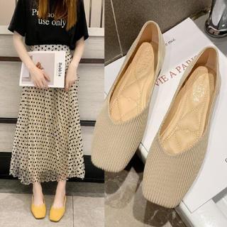 パンプス シンプル 靴 韓国 編み風 ニット フラット 23.5cm ベージュ(ハイヒール/パンプス)