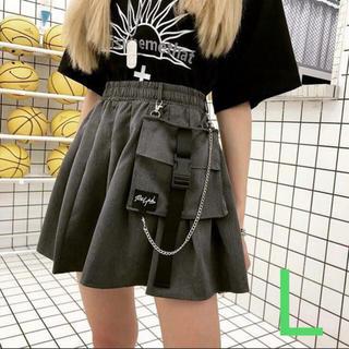 ストリート系 ロックテイスト ポケット付 フレアミニスカート ミニスカ グレー(ミニスカート)