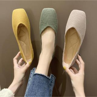 パンプス シンプル 靴 韓国 編み風 ニット フラット 23.5cm グリーン(ハイヒール/パンプス)
