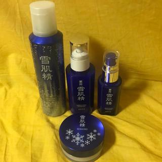 セッキセイ(雪肌精)の雪肌精 収れん化粧水 薬用 日中用美白美容液 乳液 粉雪パウダー 4点セット(美容液)