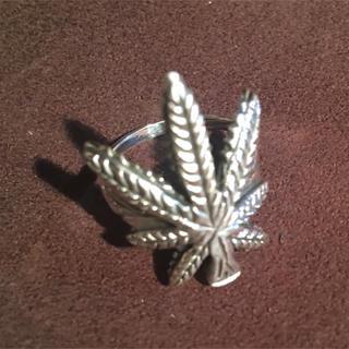 マリファナ シルバー925 リング  19号 大麻 愛 平和 銀 指輪 ギフト(リング(指輪))