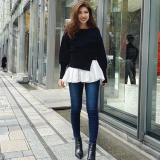 rienda - rienda リエンダ 新作 Shirt Combi KnitTOP